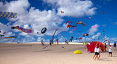 FUERTEVENTURA, SPAIN - NOVEMBER 09: Schoolkids fly little pink k — Stock Photo