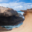 Eroded steep west coast of Fuerteventura - Stock Photo
