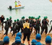 CORRALEJO - April 07: Women start the swimming part of the race — Stock Photo