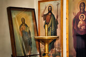 Christian icons in the church — Stock Photo
