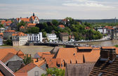The city of Meissen. View of the Elbe river, flooded during the floods in June 2013 — Stock Photo