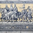 Fragment of a tiled wall panel Procession of Princes in Dresden — Stock Photo