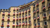 Detail of the facade of tourist hotels in Venice — Stock Photo