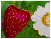 "Children's drawing on canvas ""Strawberries and chamomile flower"" — Stock Photo"