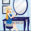 Stock Vector: Beautiful girl applying makeup