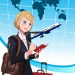 Traveling businesswoman — Stock Vector