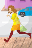 Businesswoman late for work — Stock Vector