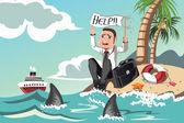 бизнесмен нуждается в помощи — Cтоковый вектор