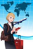 Femme d'affaires de voyage — Vecteur
