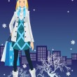 Stock Vector: Winter shopping girl