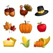 Thanksgiving icons — Stock vektor