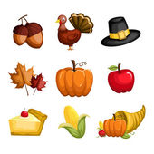 Thanksgiving icons — Stok Vektör