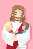 Jesus loves kids — Stock Vector