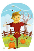 Scarecrow for Fall harvest — Stock Vector