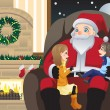 Santa Claus with two kids — Stockvectorbeeld