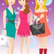 Three fashion girls — Stock Vector