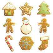 Gingerbread cookies icons — Stock Vector