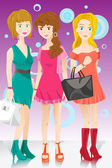 Three fashion girls — Vettoriale Stock