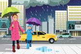 Hija de madre en la lluvia — Vector de stock