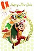 Danse du lion chinois — Vecteur