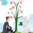 Stock Vector: Wedding couple