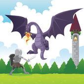 Caballero dragón lucha — Vector de stock