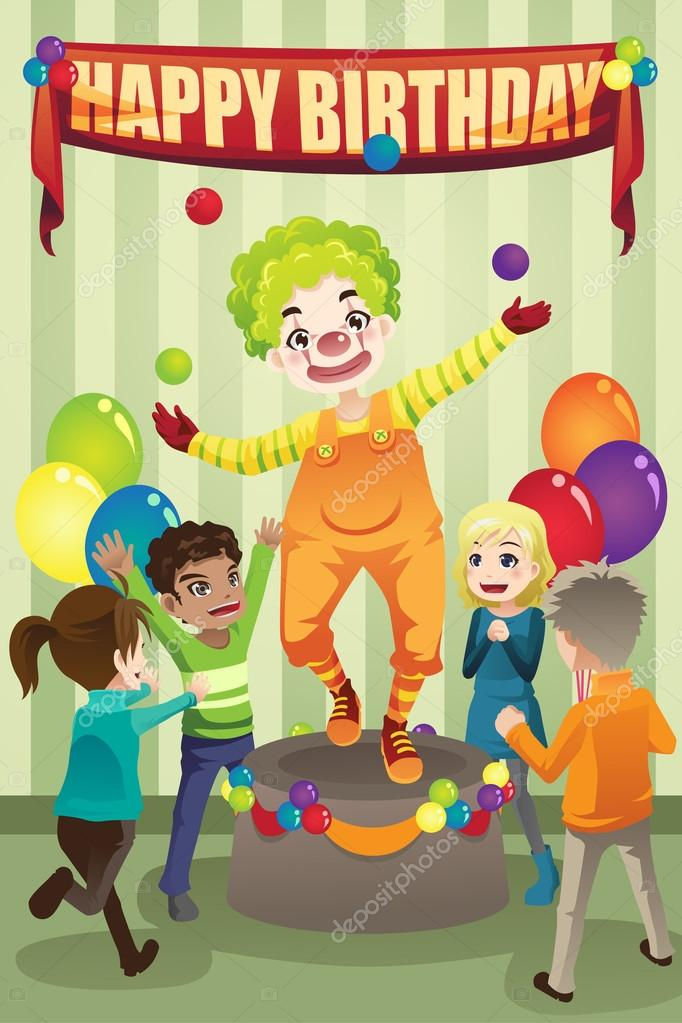 A vector illustration of a birthday party with a clown — Stock Vector #13886352
