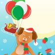 Christmas dog design background — Image vectorielle