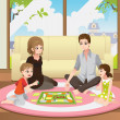 Stock Vector: Family playing board game