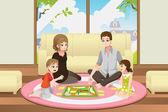 Familie spielen brettspiel — Stockvektor