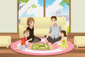 Family playing board game — Stock Vector