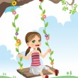 Royalty-Free Stock Imagem Vetorial: Girl swinging on a tree