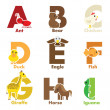 Alphabet animals — Stock Vector
