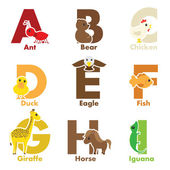 Alphabet animals — Vettoriale Stock