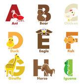 Animali alfabeto — Vettoriale Stock