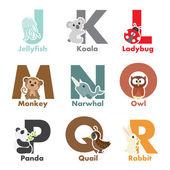 Alfabet dieren — Stockvector