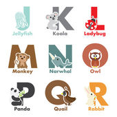 Alphabet animals — Vector de stock