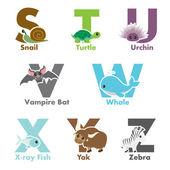 Alphabet animals — Stock Vector