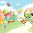 Fantasy sweet food land — Imagen vectorial