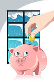 Saving for the rainy day — Stock Vector