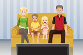 Family watching movies at home — Stock Vector