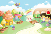Fantasy sweet food land — Vector de stock