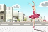 Bailarín de ballet clásico en la ciudad — Vector de stock