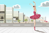 Ballet dancer in the city — Stockvector