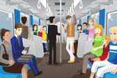 In subway train — Stockvector