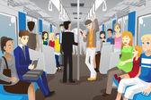 Nel treno della metropolitana — Vettoriale Stock