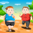 Overweight kids running — Stock Vector