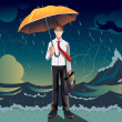 Businessman in a storm — Stock Vector #16326343