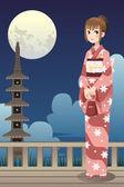 Japanese kimono girl — Stock Vector