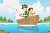 Father and son fishing — Stock Vector